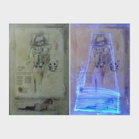 Christos Antonaropoulos, Untitle ON-OF, mix medea, 50x72cm