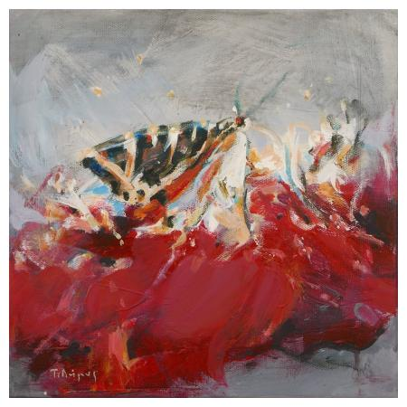 Dimos Tasos, Butterfly, acrylic and oil on canvas, 30x30cm