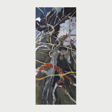 Eleni Deli, Hidden nature, oil on canvas, 178x73cm
