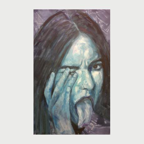 Evi Panteleon, Grimaces, oil on canvas 50x70 cm