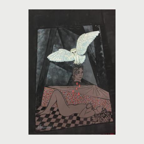 Georgios Stathopoulos, Bird's lament, acrylic on cardboard