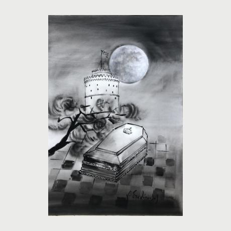 Georgios Stahopoulos, Le petit prince…mort à Thessalonique, acrylic on paper, 50 x 38 cm