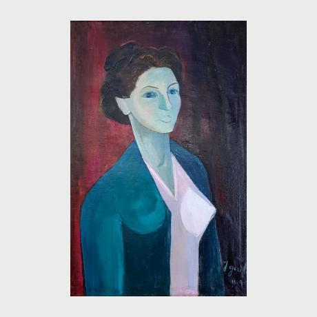 Γιάννης Γαιτης,λάδι σε μουσαμά, Μπούστο,Μαριάννα Κουτούζη,74,5 χ49,0 cm, 1949