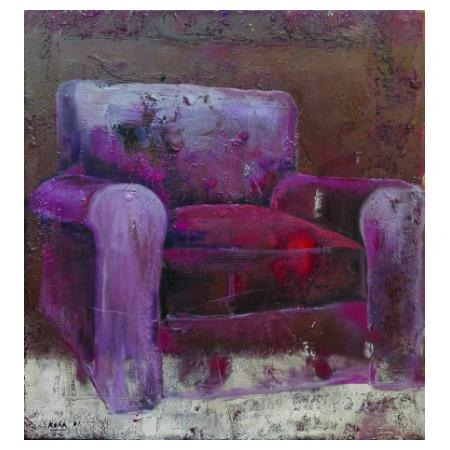 Idlir Koka, 1979, Red armchair , 2001, mixed media on canvas, 68x64 cm