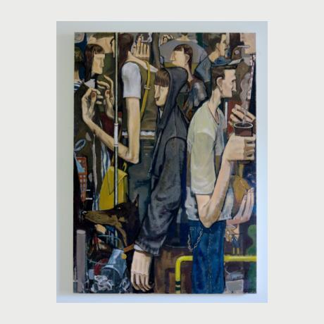 Kostis Damoulakis, Crowd, oil on canvas, 120x100 cm