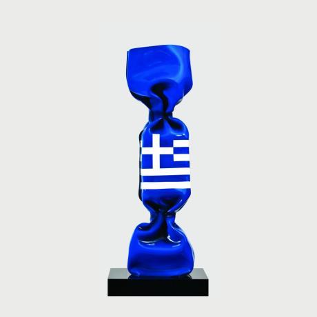 Laurence Jenkell, 2017, Plexiglass, Wrapping Bonbon Drapeau Grec, h80cm