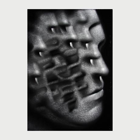 Lukasz Gierlak,2016,Masses portrait I, charcoal, 100x70 cm