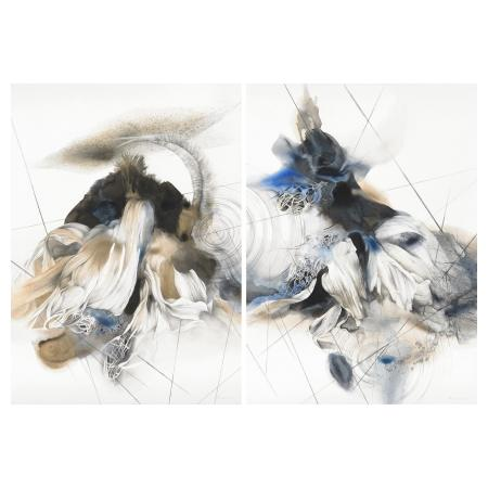Maria Trillidou - acrylic silver leaf and pencil on paper - 110x150cm