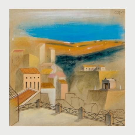 Nikos Stefanou,Landscape,pastel on paper,1989