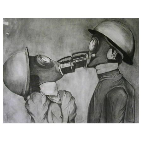 Nina  Michailidou | The last kiss | 96x112 cm | Charcoal on white paper