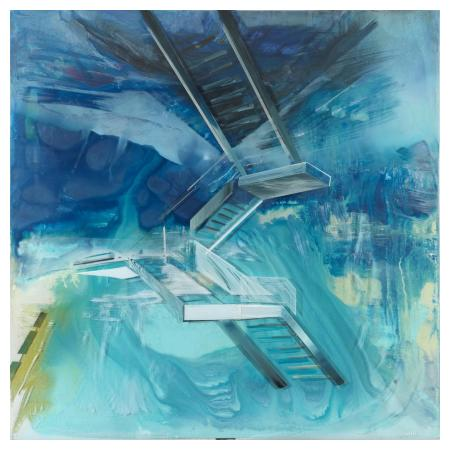 Panagiotis Siagreece, The Upper Floor II, 100 x 100 cm, Acrylic on canvas & plexiglass