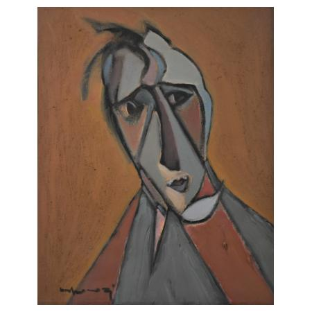 Shkelqim Kokonozi, 1954, Face 4, 2002, Oil on canvas, 50 x 40