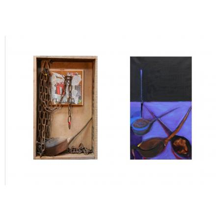 Stavros Kotsireas Oil Can and Chains (diptych) 2017 Construction - Mixed Media, (wood, metal, news articles), 49x31x12cm Painting - Oil on canva