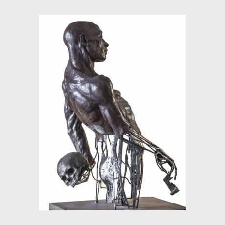 Stelios Sarros, DON'T LOOK BACK 2016, Sculpture Iron Terracotta, 84x49x37cm