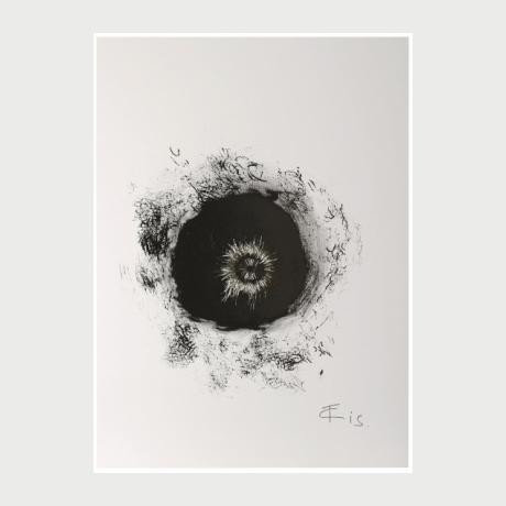 ΤΑΚΙS, Solar magnetic Fields Black Hole 2005, Magnetic and indian ink,watercolor, magmetic pins on canvas,140x100cm