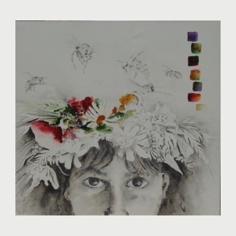 Tzekou Eleni, My Flora, 2071, acrylic on paper, 95x100cm
