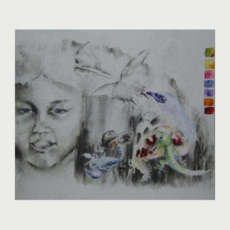 Tzekou Eleni, My Infanta, 2017, acrylic on paper, 95x100cm